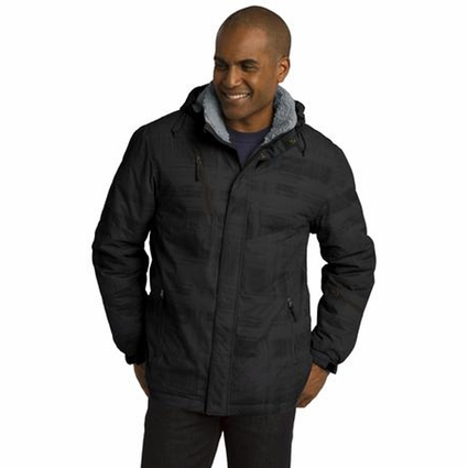 Port Authority Men's Jacket: Insulated Brushstroke Print with Zip-Off Hood (J320)