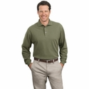 Port Authority Men's Polo Shirt: 100% Cotton Long Sleeve Pique Knit (K320)