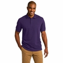 Port Authority Men's Polo Shirt: Cotton Blend Pique Tipped Rapid Dry (K454)