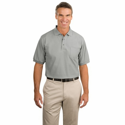 Port Authority Men's Polo Shirt: Silk Touch Pique Knit with Pocket (K500P)