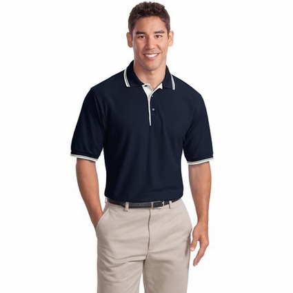 Port Authority Men's Polo Shirt: Silk Touch with Stripe Trim (K501)