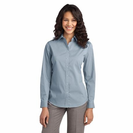 Port Authority Women's Poplin Shirt: Fine Stripe Stretch