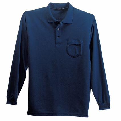 Port Authority Men's Tall Polo Shirt: Silk Touch Pocketed Long Sleeve (TLK500LSP)