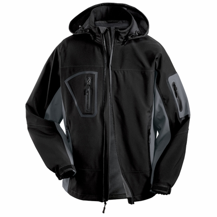 Port Authority Men's Tall Soft Shell Jacket: Waterproof Hooded with MP3 Pocket (TLJ798)