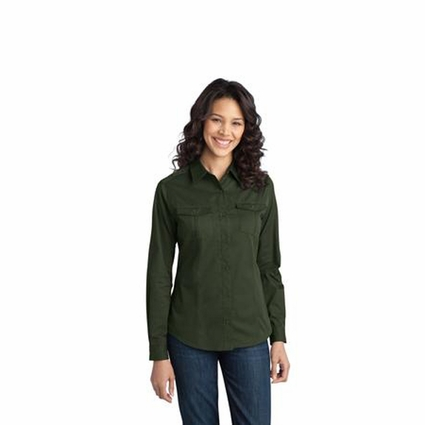 Port Authority Women's Twill Shirt: Stain-Resistant Roll Sleeve