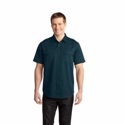 Port Authority Men's Twill Shirt: Stain-Resistant Short Sleeve