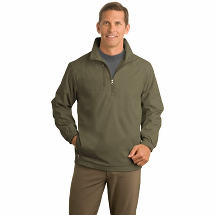 Port Authority Men's Wind Jacket: 1/2-Zip Lightweight Pocketed (J703)