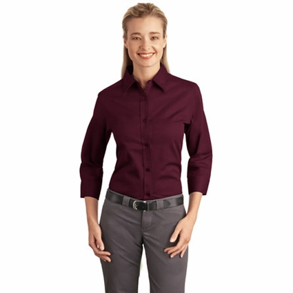 Port Authority Women's Dress Shirt: Cotton Blend Easy Care 3/4-Sleeve (L612)