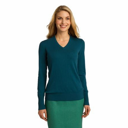 Port Authority Women's Sweater: Cotton Blend V-Neck (LSW285)