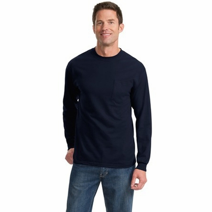 Port & Company Men's T-Shirt: 100% Cotton Long Sleeve with Pocket (PC61LSP)