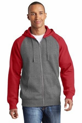 Raglan Colorblock Full-Zip Hooded Fleece Jacket