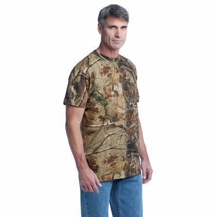 Russell Outdoors Men's T-Shirt: 100% Cotton Jersey Realtree Explorer with Pocket (S021R)
