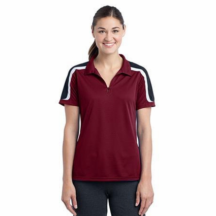 Sport-Tek Women's Polo Shirt: Tri Color Shoulder Micropique(LST658)