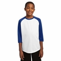 Sport-Tek Youth Jersey: 3/4 Sleeve Baseball Crewneck(YST205)