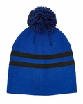 Striped Pom Beanie: (TT122)