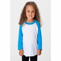 Toddler Poly-Cotton 3/4 Sleeve Raglan: (BB153)