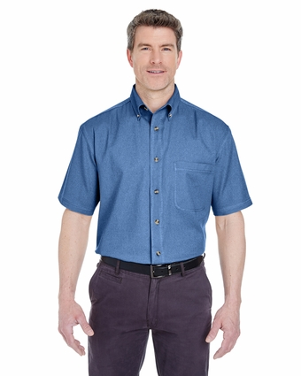 Adult Cypress Denim Short-Sleeve with Pocket: (8965)