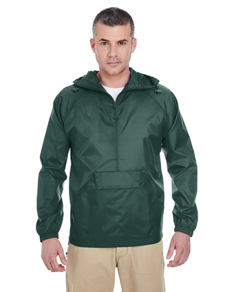 Adult 1/4-Zip Hooded Pullover Pack-Away Jacket: (8925)