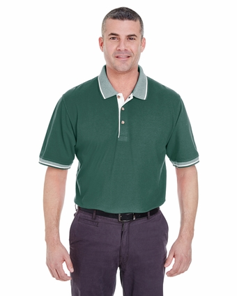 Adult Color-Body Classic Piqué Polo with Contrast Multi-Stripe Trim: (8537)