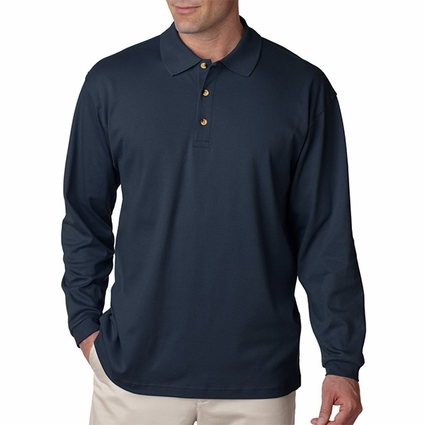 Men's Egyptian Interlock Long-Sleeve Polo: (U8501)