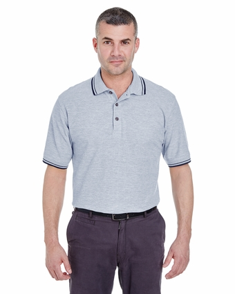 Men's Short-Sleeve Whisper Piqué Polo with Tipped Collar and Cuffs: (8545)