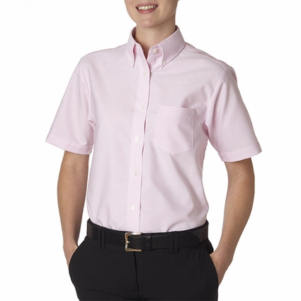 Ladies' Classic Wrinkle-Resistant Short-Sleeve Oxford: (8973)