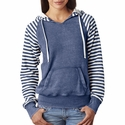 Ladies' Angel Fleece Sanded Piper Striped Hooded Pullover: (W15106)