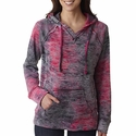Ladies' Courtney Burnout V-Notch Hooded Fleece: (W1162)