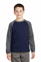 Youth Sport-Wick Raglan Colorblock Fleece Crewneck