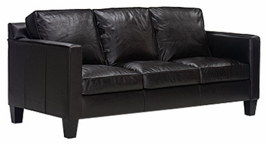 Modern Leather Pillow-Back Apartment-Sofa w/ Track Arms