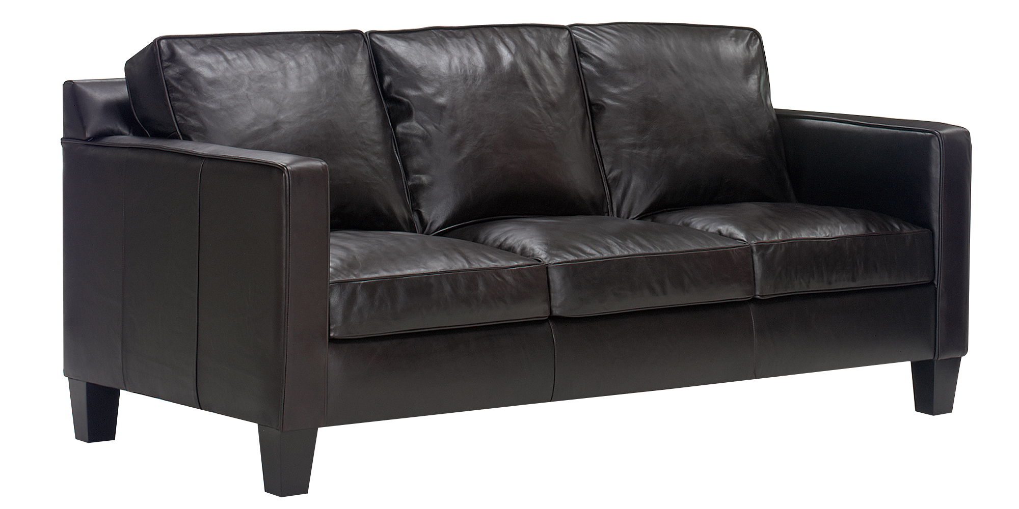 Apartment studio size modern european track arm leather for Apartment size leather sofa