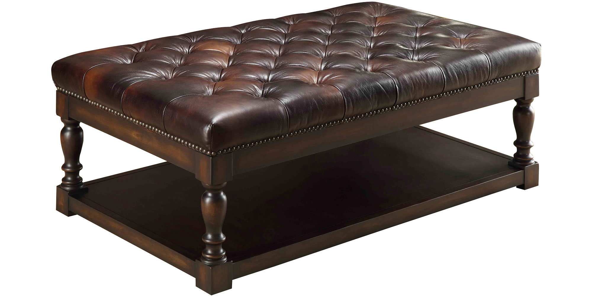 Leather Ottomans & Coffee Table Storage Ottomans