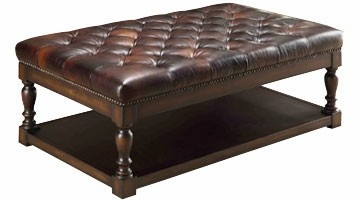 leather coffee table ottoman with button tufting   club furniture
