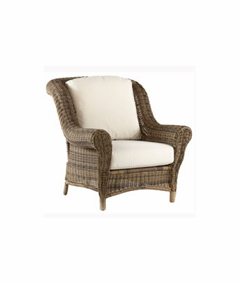 Amalfi resin wicker pillow back patio chair gray for Resin wicker furniture