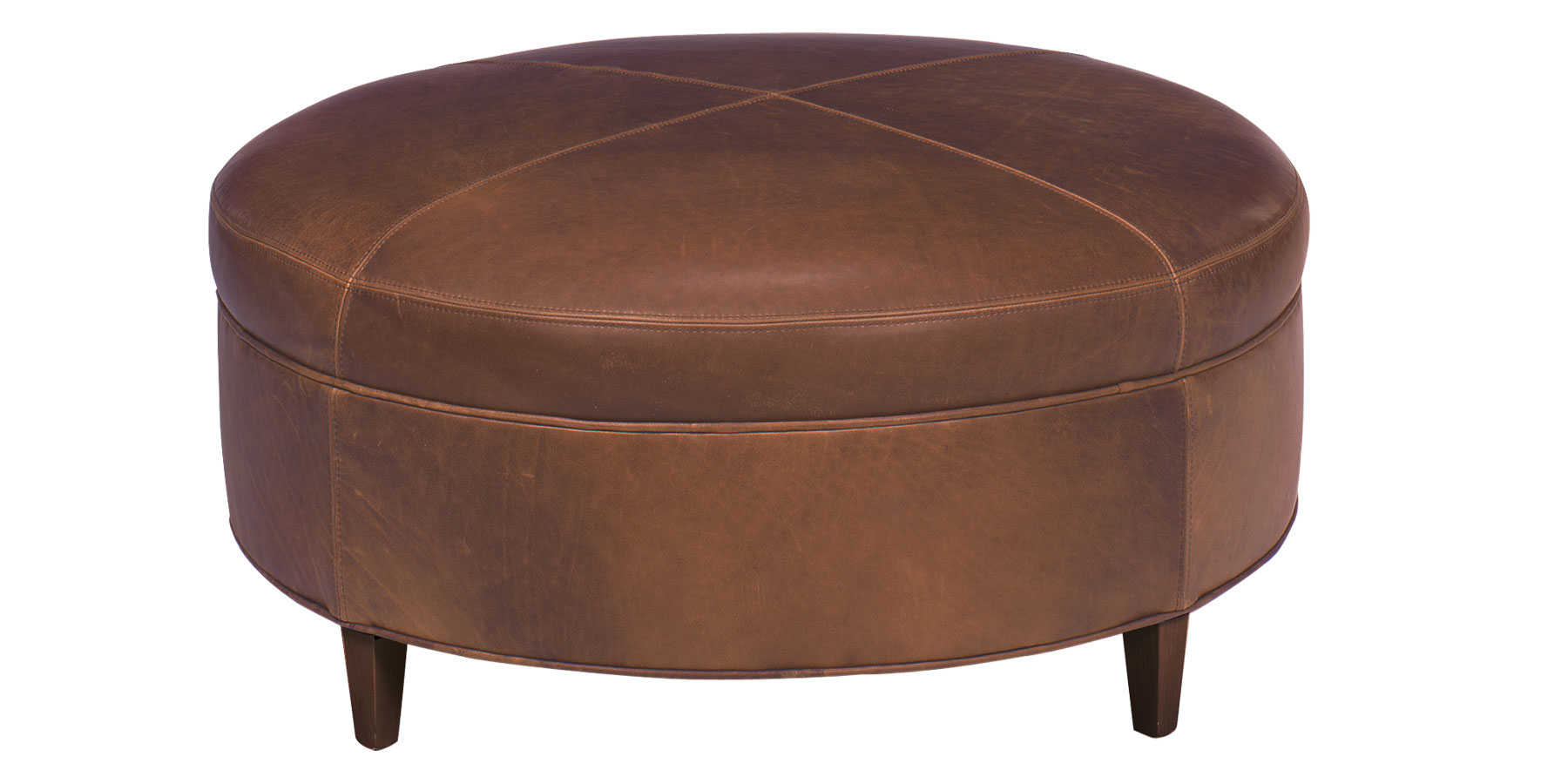 Round Contemporary Leather Cocktail Ottoman Club Furniture