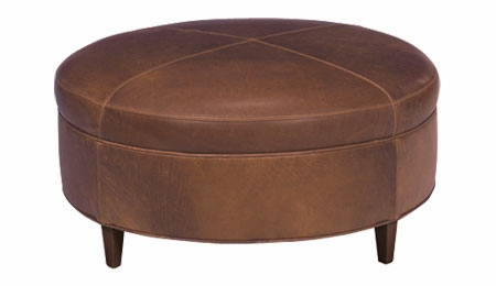 Round Transitional Leather Ottoman Club Furniture