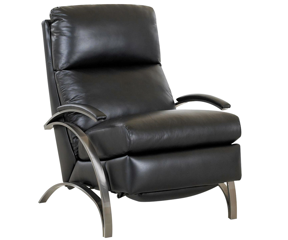 contemporary european leather recliner chair w/ steel & leather