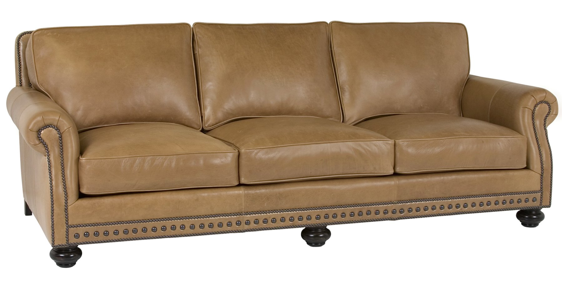 Leather pillow back sofa with rolled arms and nail trim for Leather furniture