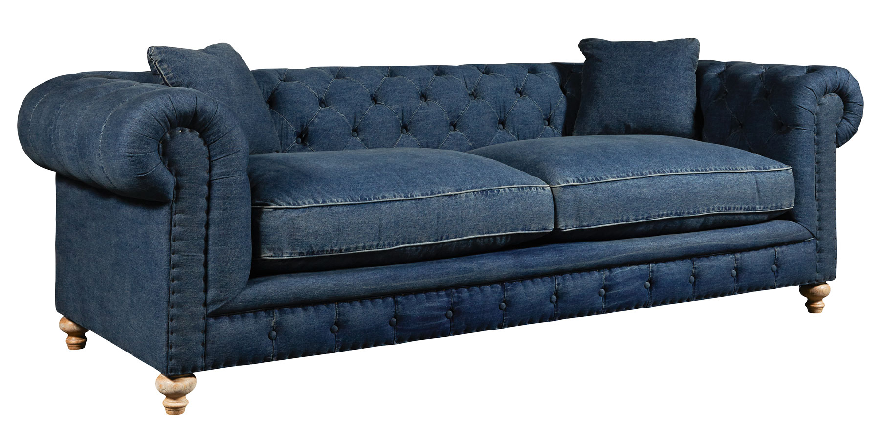 Tufted Denim Blue Jeans Chesterfield Sofa Collection
