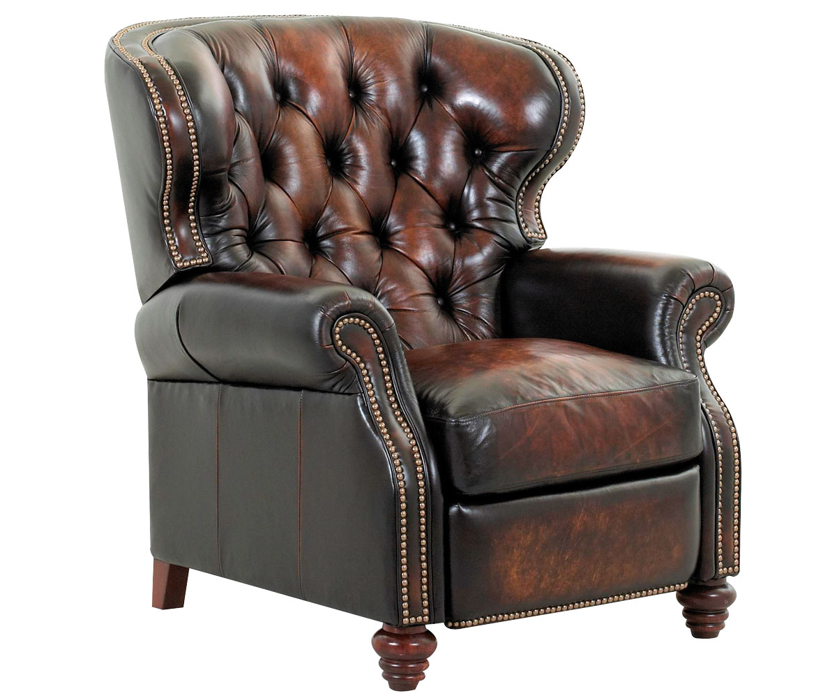 Chesterfield tufted leather wingback recliner w nailhead trim for Leather wingback recliner sale