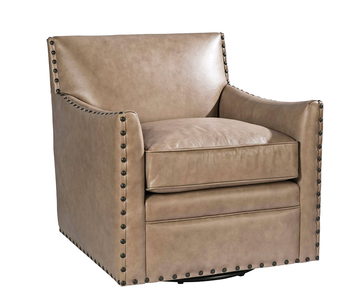 Transitional Leather Swivel Accent Chair Club Furniture