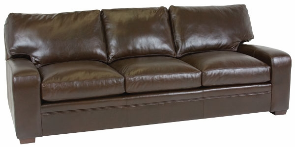 Saddle Stitched Leather Pillow Back Track Arm Sofa