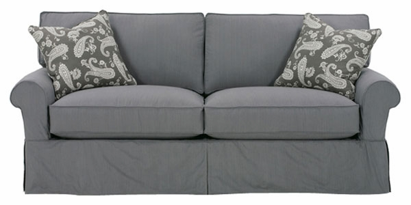 2 Cushion Skirt Slipcovered Queen Sleeper Sofa w Rolled Arms
