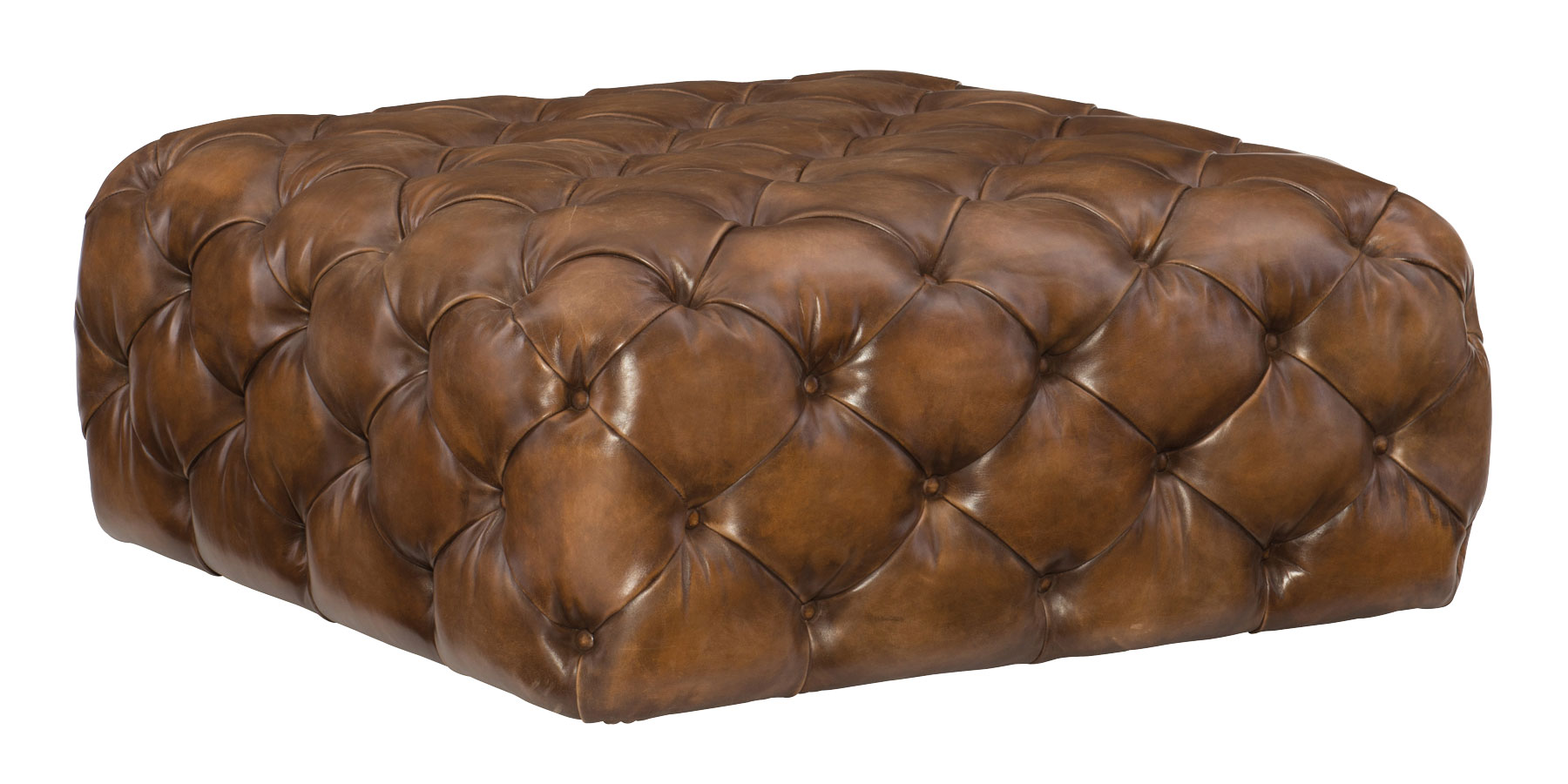 Large Square Tufted Leather Coffee Table Ottoman