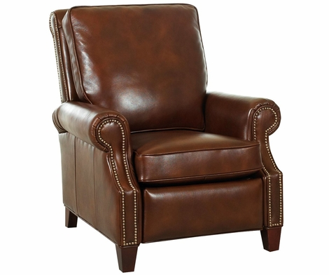 Leather Pillow Back Recliner W Nail Head Trim Amp Rolled Arms