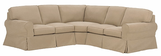 Slipcovered Three Piece Sectional Sofa With Skirt Club Furniture