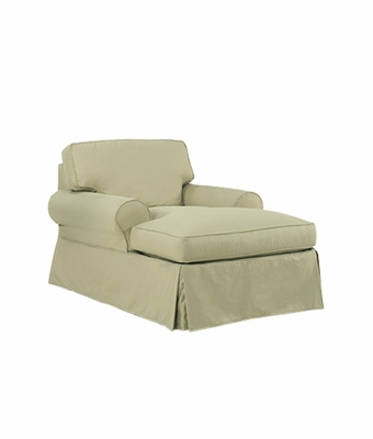 Slipcovered two arm t cushion chaise lounge for 2 arm chaise lounge