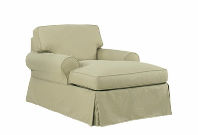 Slipcovered two arm t cushion chaise lounge for 2 armed chaise lounge