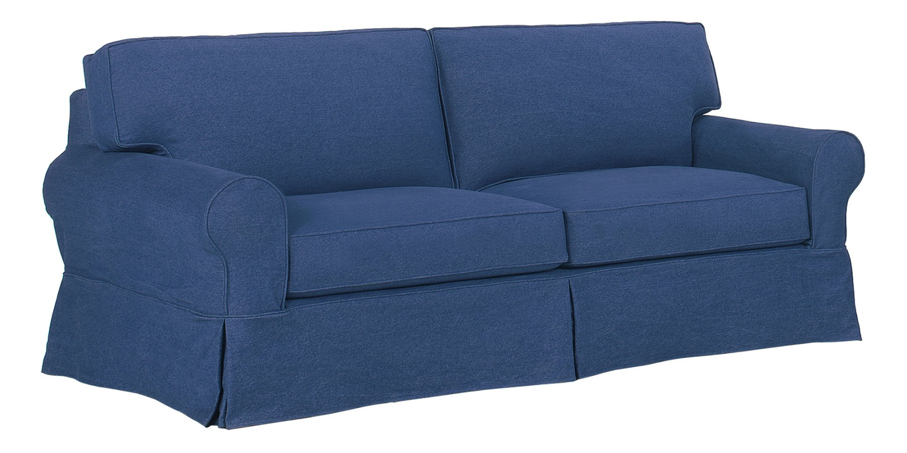 Denim Slipcovered Sofa With Chaise Ottoman Club Furniture