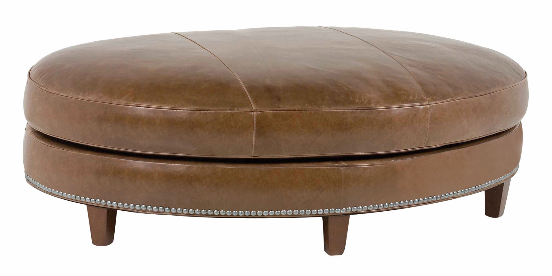 oval leather ottoman with nail trim club furniture. Black Bedroom Furniture Sets. Home Design Ideas
